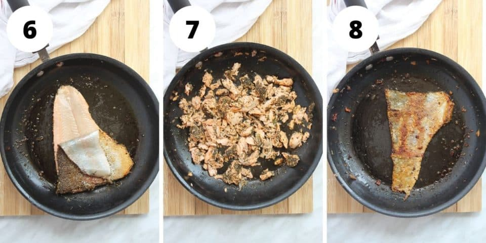 Three photos to show how to cook the trout
