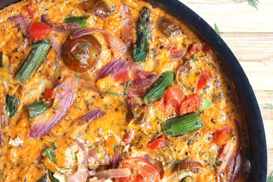 Close up of the oven baked frittata in a skillet
