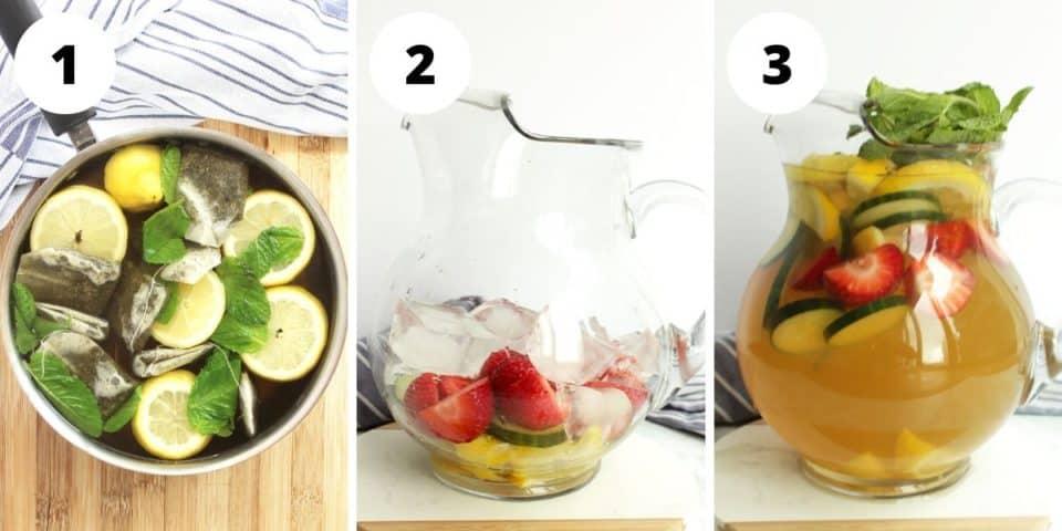 Three photos to show how to make green iced tea