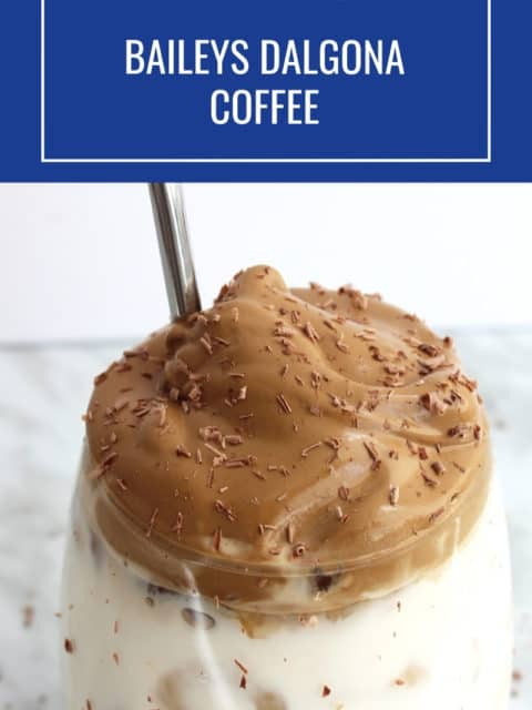 Pinterest graphic. Baileys dalgona coffee with text