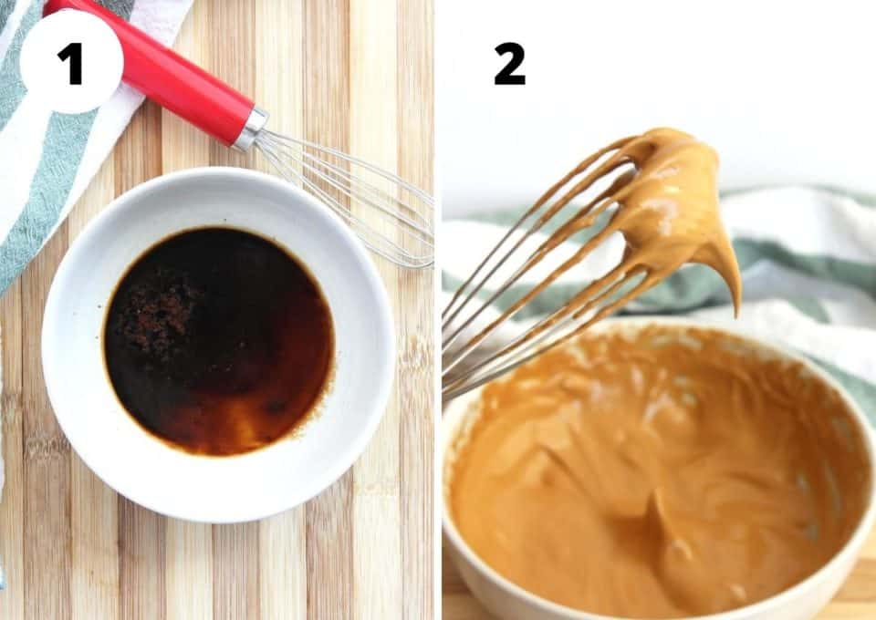 Two photos to show the coffee before and after whisking