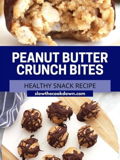 Pinterest graphic. Peanut butter crunch bites with text