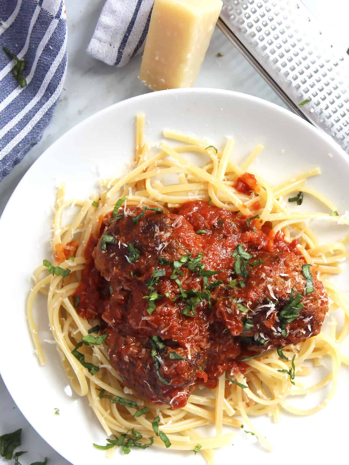 Overhead shot of bison meatballs served with spaghetti
