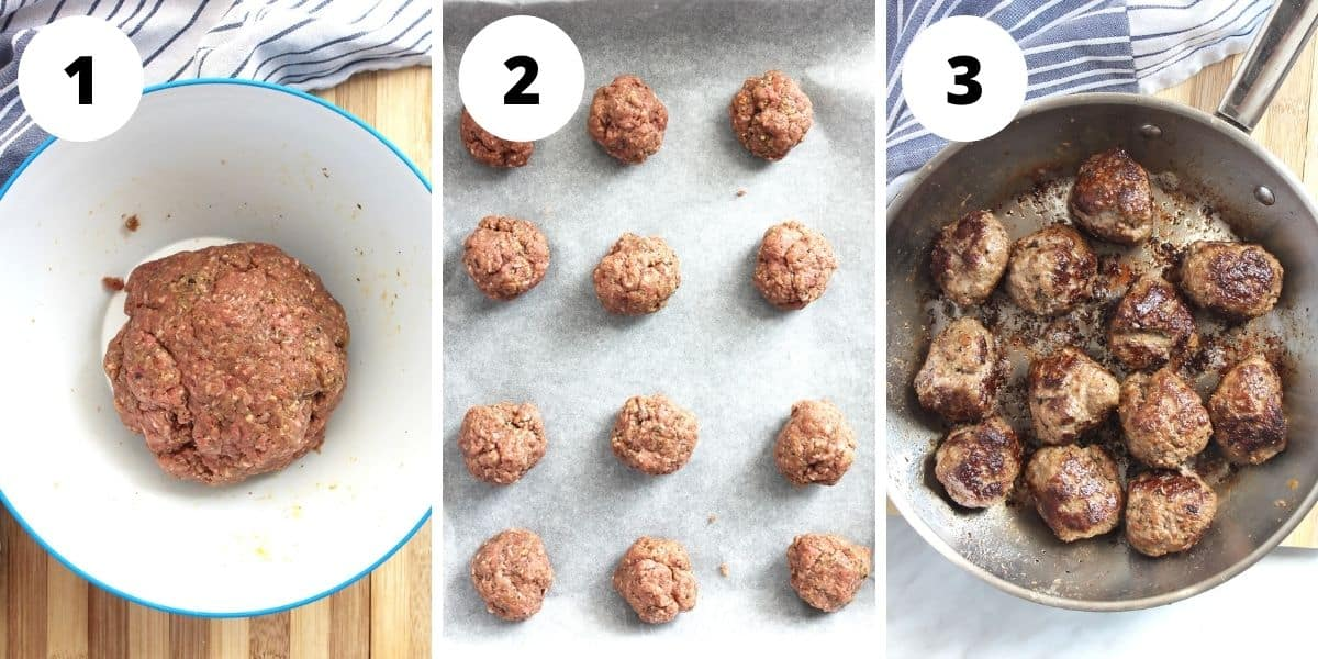 Three photos showing how to make and cook the meatballs