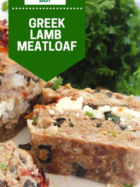 Pinterest graphic. Lamb meatloaf with text.