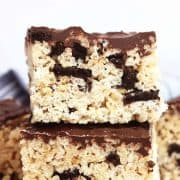 Close up of an oreo rice krispy square stacked on top of another one