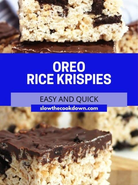 Pinterest graphic. Oreo rice krispies with text