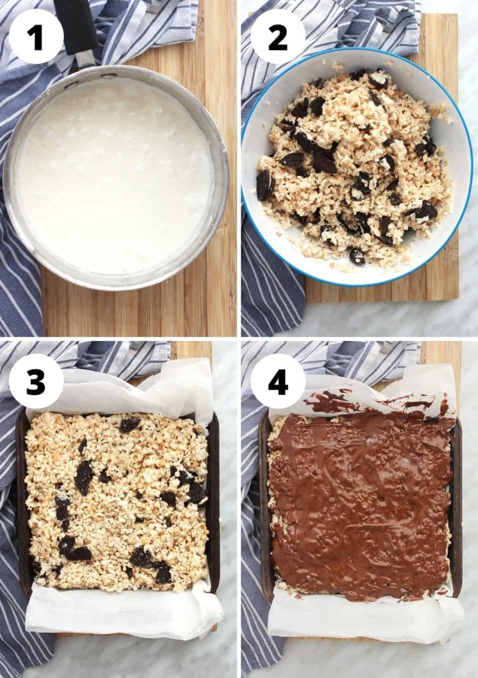 Four step by step photos showing how to make the rice krispy treats