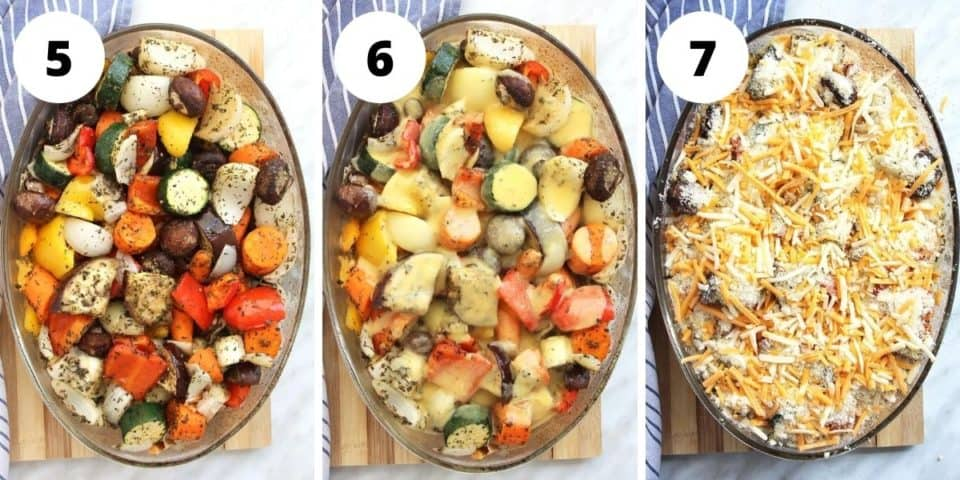 Three photos to show how to build the crumble before baking