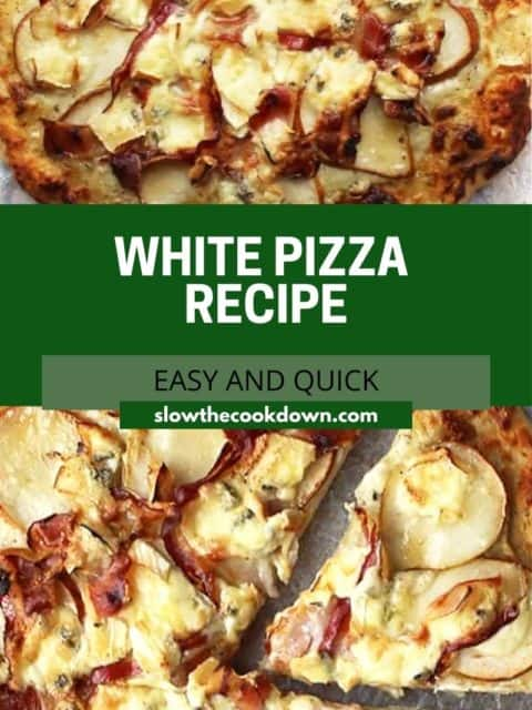 Pinterest graphic. White pizza with text