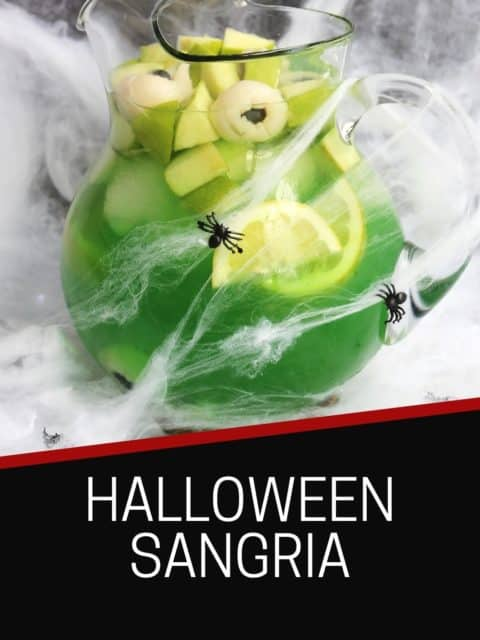 Pinterest graphic. Halloween sangria with text.