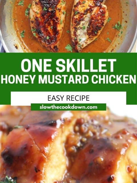 Pinterest graphic. Honey mustard chicken breasts with text.