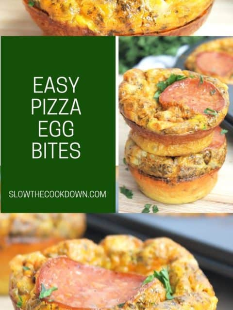 Pinterest image. Pizza egg muffins with text.