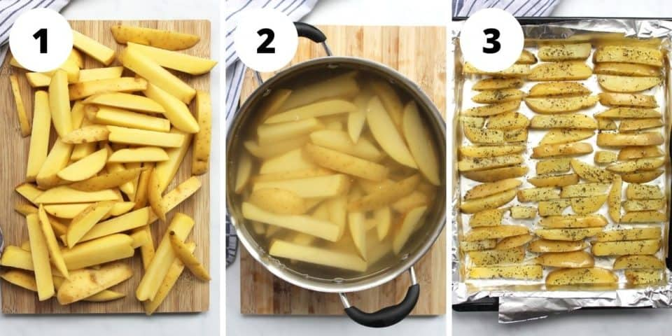 Step by step photos showing how to cook the fries.