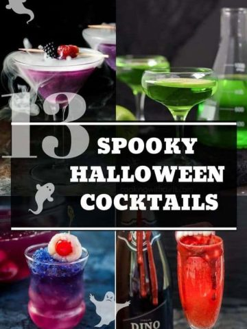 Pinterest graphic. Spooky halloween cocktails collage with text.