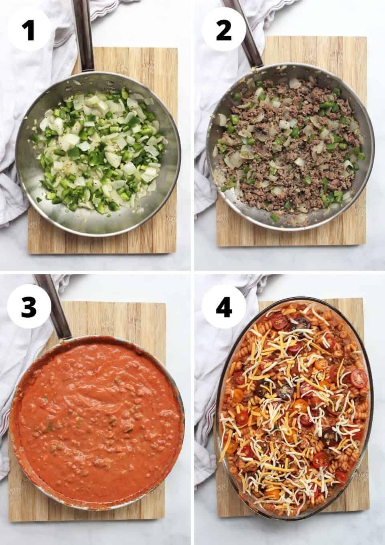 Four photos to show how to make the recipe.