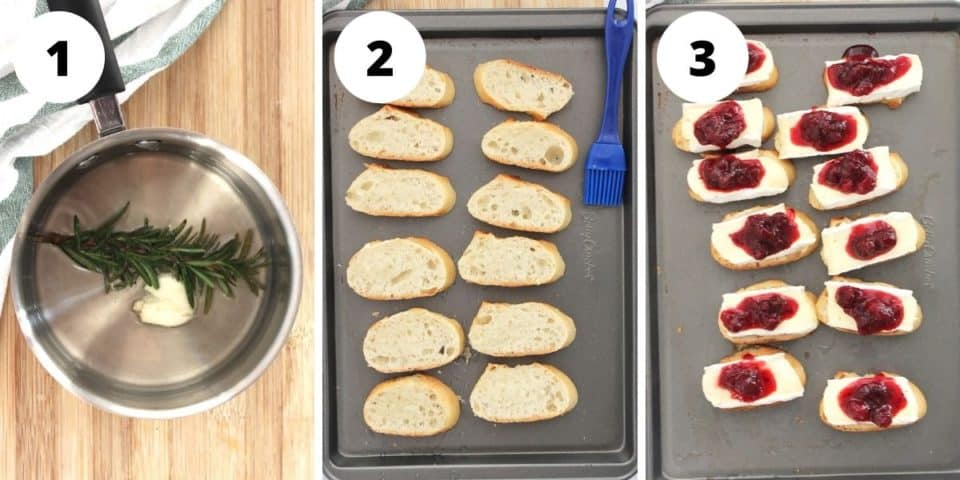 Three step by step photos to show how to make the crostini.