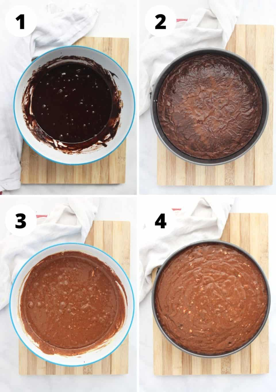 Four process shots to show how to make the cheesecake before baking.