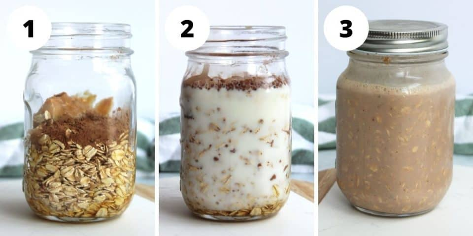 Three step by step photos to show how to make overnight oats.
