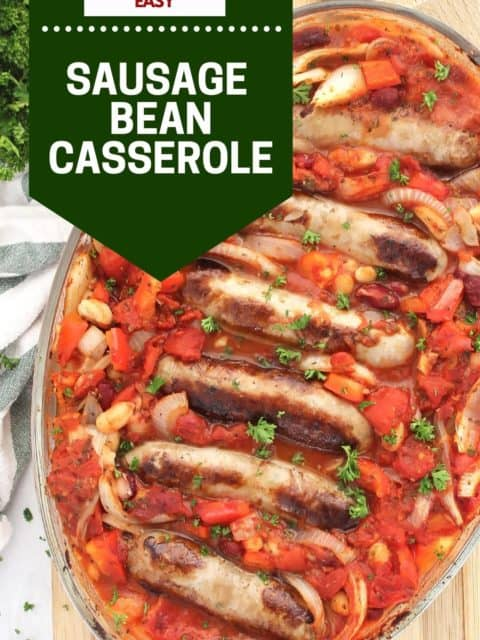 Pinterest graphic. Sausage and bean casserole with text.