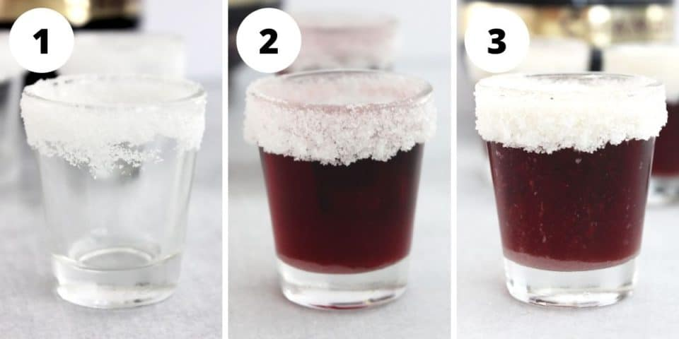 Three step by step photos to show how to make the shots.