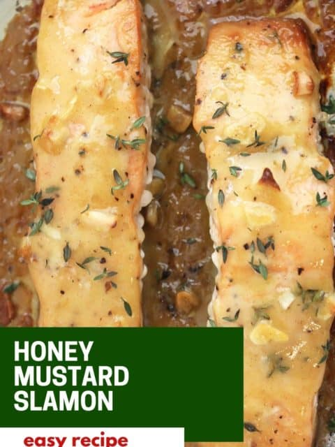 Pinterest graphic. Baked honey mustard salmon with text.