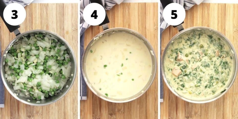 Three photos to show how to make the salmon pie filling.
