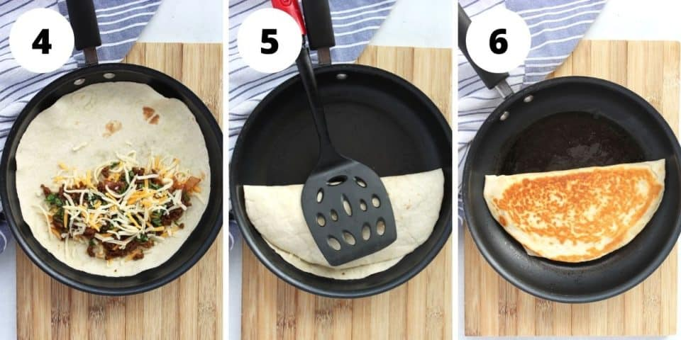 Three step by step photos to show how to fill and cook the quesadillas.