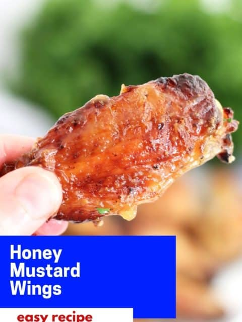 Pinterest graphic. Honey mustard chicken wings with text.