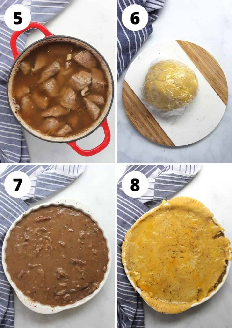 Four step by step photos to show the pie filling topped with the pie crust.