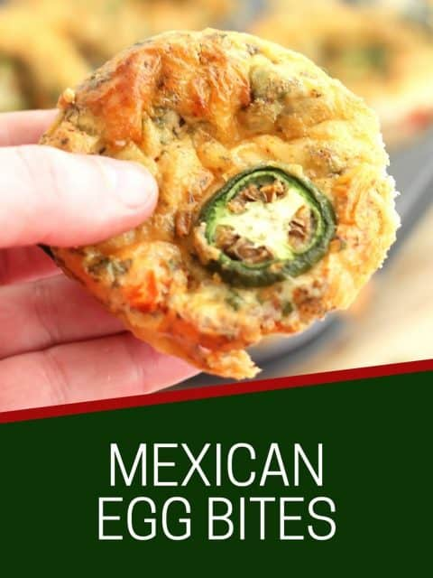 Pinterest graphic. Mexican egg bites with text.