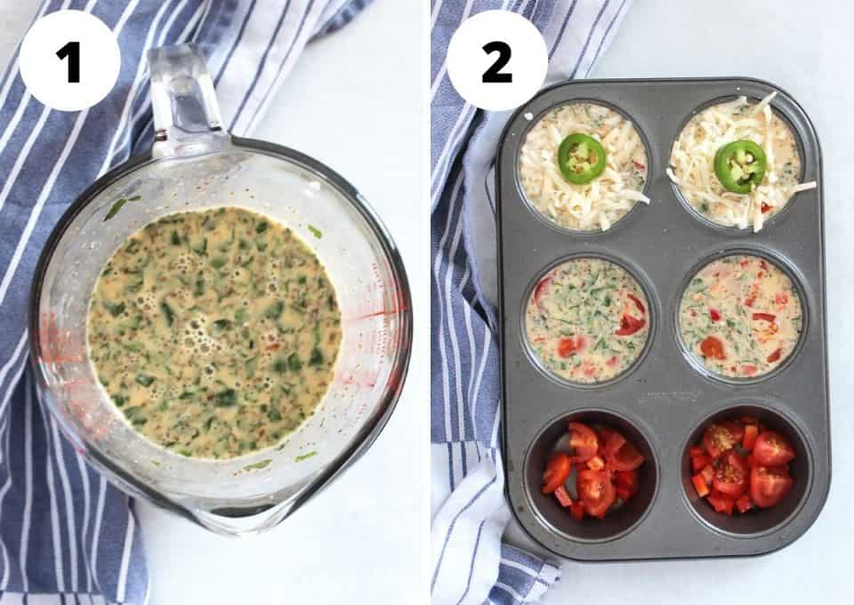 Two step by step photos to show how to make the egg muffins.