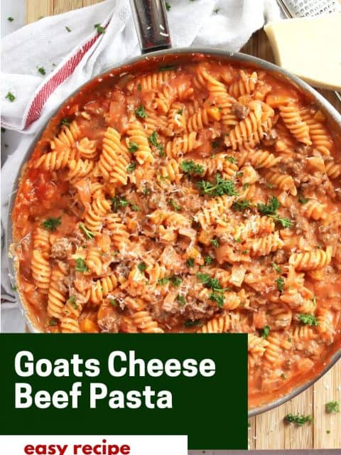 Pinterest graphic. Goats cheese pasta with text.
