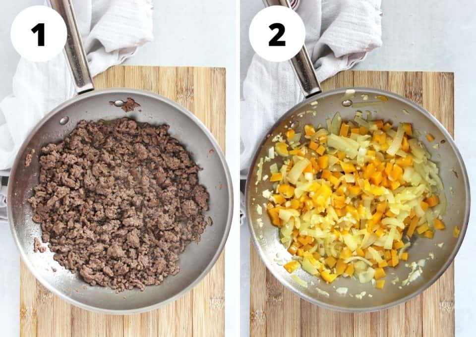 Two step by step photos showing browning the beef and softening the vegetables.