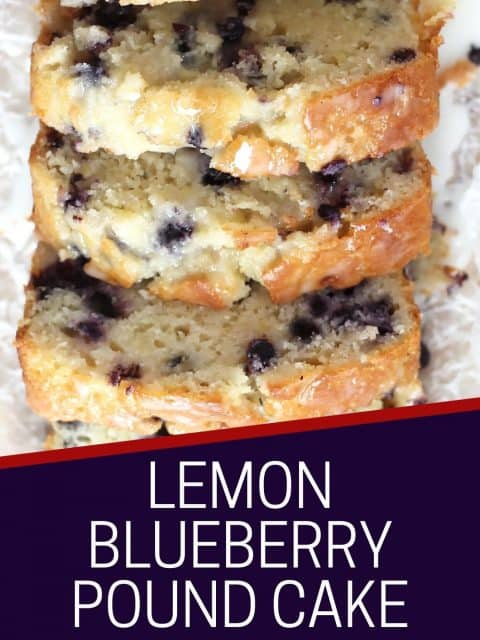 Pinterest graphic. Lemon blueberry pound cake with text.