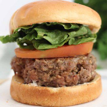 Close up of a pesto burger in a bun with salad.