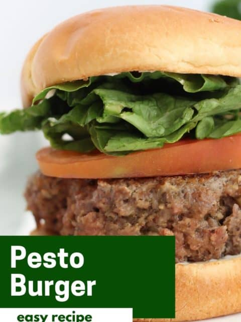 Pinterest graphic. Pesto burger with text.