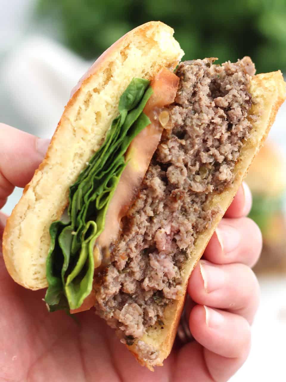 A hand holding half a burger.