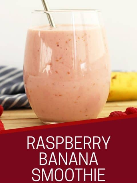 Pinterest graphic. Raspberry banana smoothie with text.