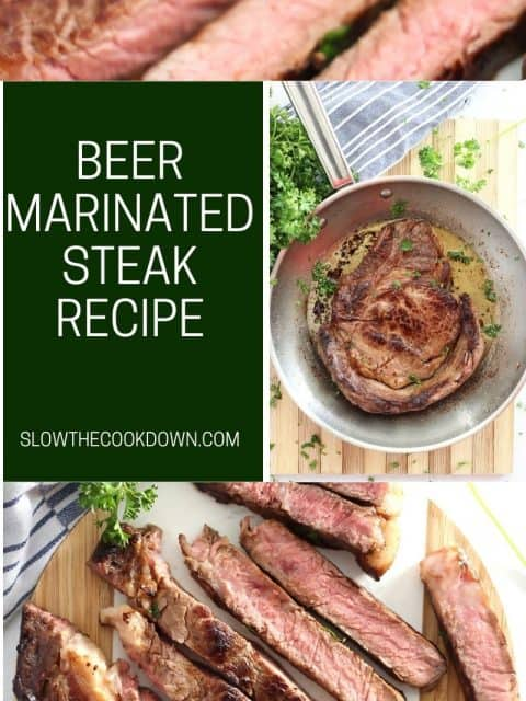 Pinterest graphic. Beer marinated steak with text.