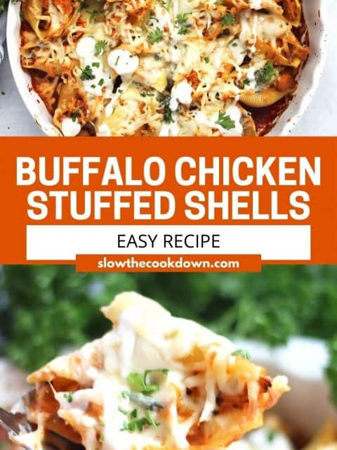 Pinterest graphic. Buffalo chicken stuffed shells with text.