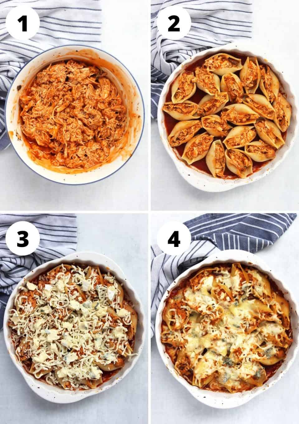 Four step by step photos to show how to make the stuffed shells.