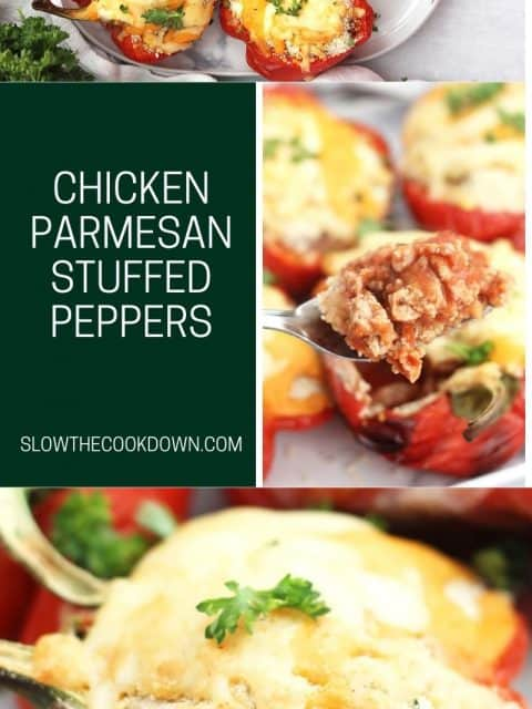 Pinterest graphic. Chicken parmesan stuffed peppers with text