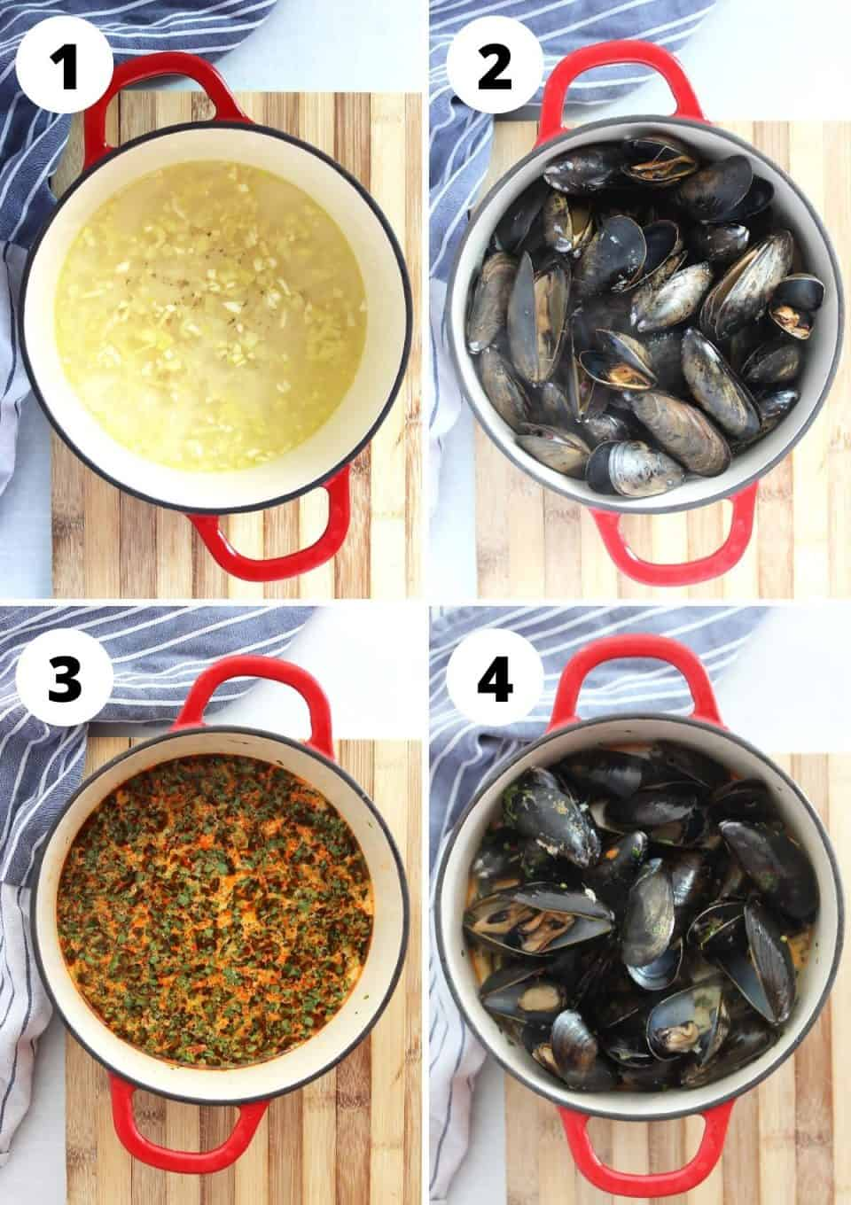 Four step by step photos to show how to cook the mussels.