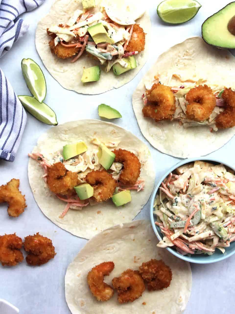 Fried shrimp tacos ready to serve.