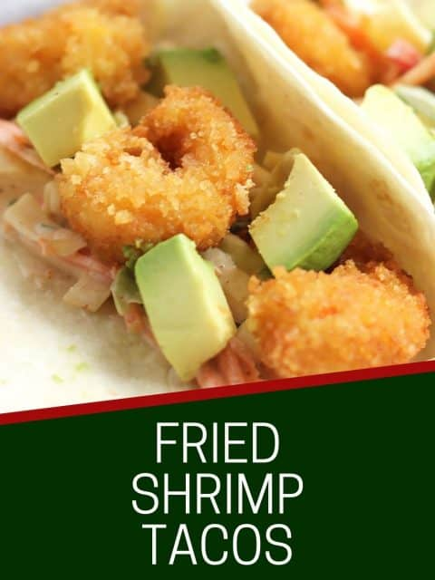 Pinterest graphic. Fried shrimp tacos with text.