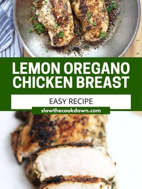 Pinterest graphic. Lemon oregano chicken with text.