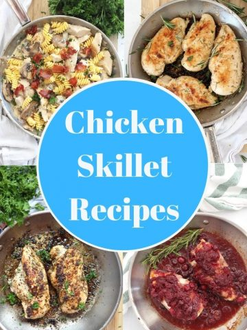 Collage of four chicken breast skillet recipes with text overlay.