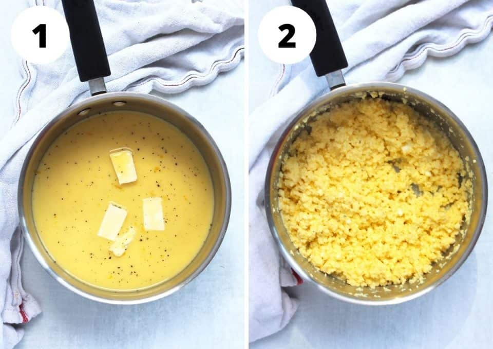 Two step by step photos to show the scrambled eggs.