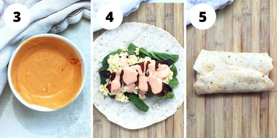 Three step by step photos to show the mixed sauce and how to fill and fold the tortillas.